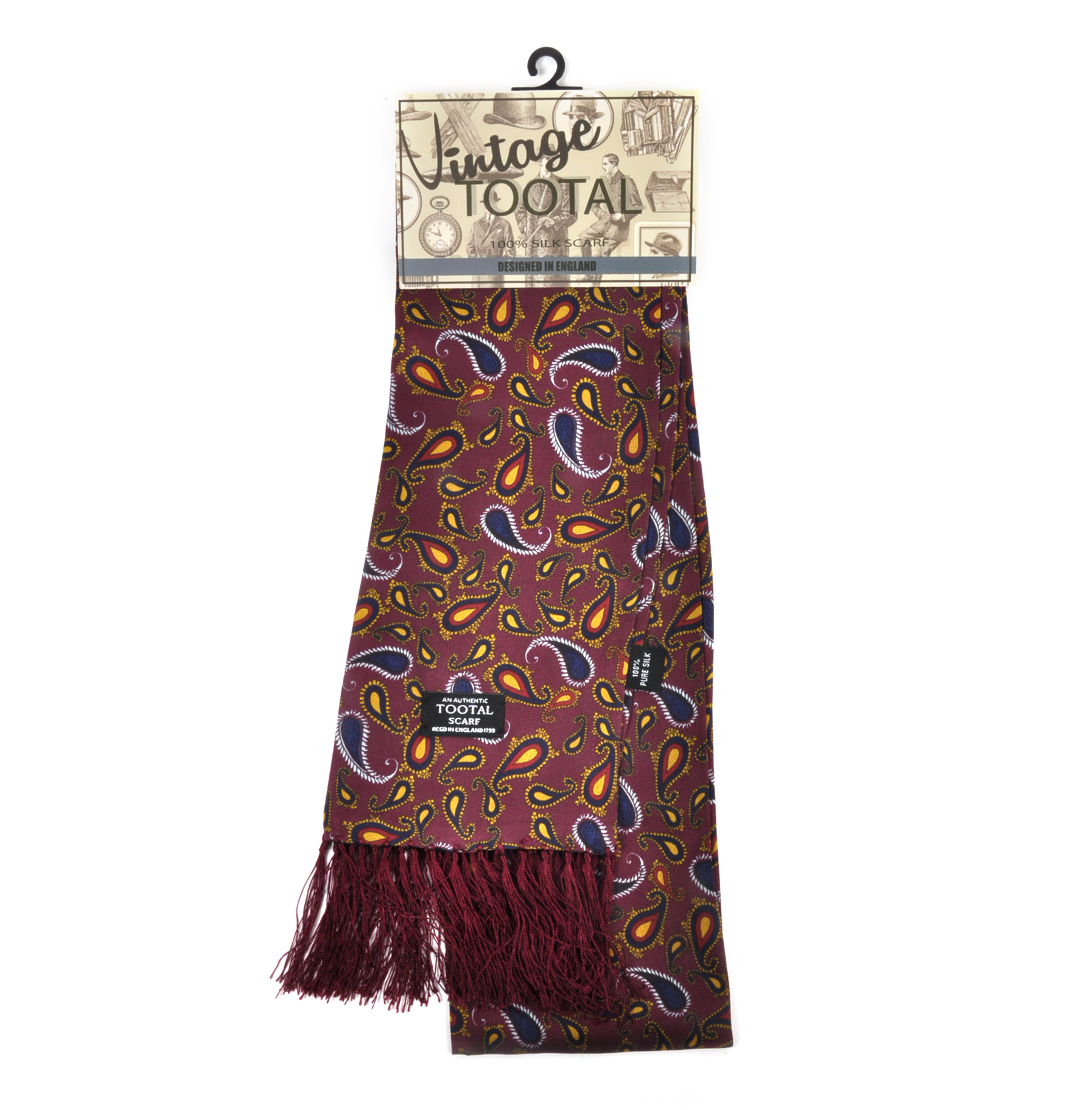 0d23889ebba Modern Paisley Print Burgundy Scarf - Long - 100% Silk Scarf from Vintage  Tootal