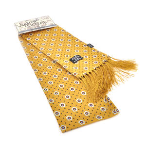 Polkadot & Geo Print Gold Scarf - Long - 100% Silk Scarf from Vintage Tootal