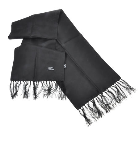 Black Plain Fringed Scarf - 100% Silk Scarf from Vintage Tootal