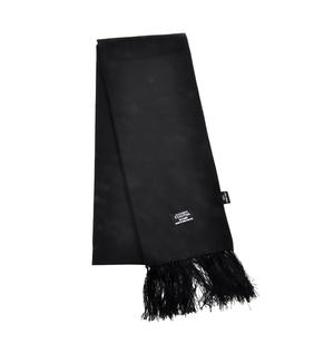 Black Plain Fringed Scarf - 100% Silk Scarf from Vintage Tootal Thumbnail 4