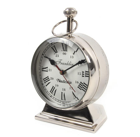 Chrome Franklin Watch Clock - Free Standing Desk Clock