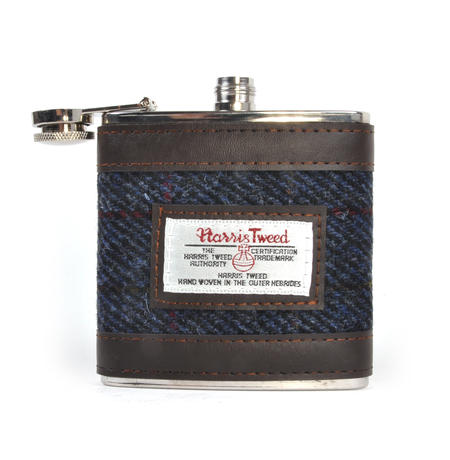Allasdale Blue Harris Tweed Hip Flask