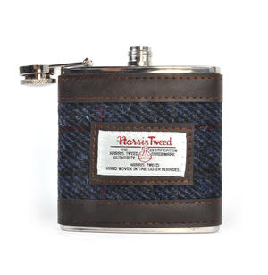 Allasdale Blue Harris Tweed Hip Flask Thumbnail 1