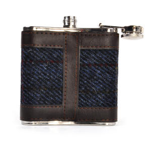Allasdale Blue Harris Tweed Hip Flask Thumbnail 2