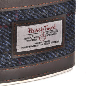 Allasdale Blue Harris Tweed Hip Flask Thumbnail 3