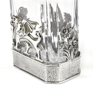 Welsh Dragon Decanter in Heavy Solid Pewter and Lead Crystal in Presentation Box Thumbnail 4
