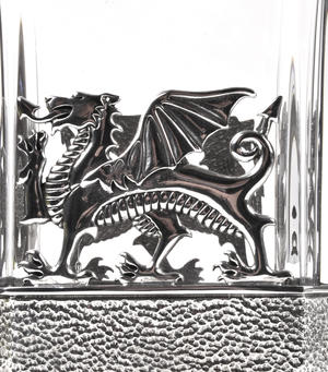 Welsh Dragon Decanter in Heavy Solid Pewter and Lead Crystal in Presentation Box Thumbnail 5