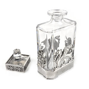Welsh Dragon Decanter in Heavy Solid Pewter and Lead Crystal in Presentation Box Thumbnail 7