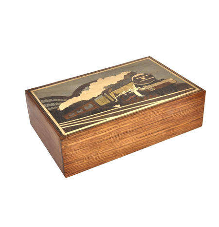 Flying Scotsman Steam Engine Secret Marquetry Stash Box with Invisible Opening System 8 x 12cm