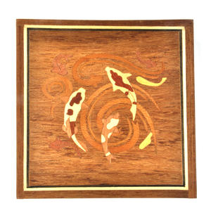 Koi Carp Fish Secret Marquetry Stash Box with Invisible Opening System 12 x 12cm