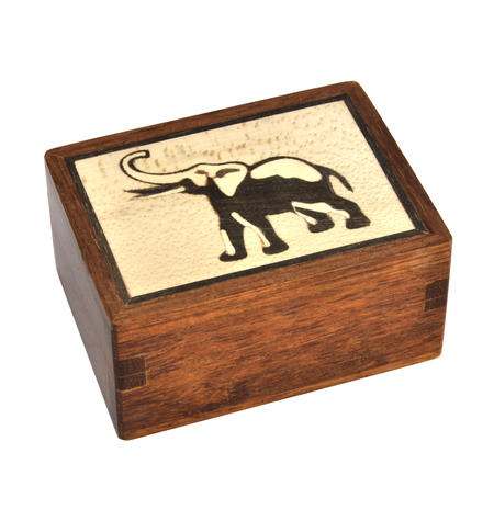 Elephant Secret Marquetry Stash Box with Invisible Opening System 6 x 8 cm