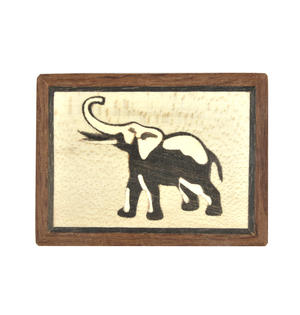 Elephant Secret Marquetry Stash Box with Invisible Opening System 6 x 8 cm Thumbnail 4