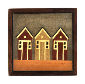 Beach Huts Secret Marquetry Stash Box with Invisible Opening System 8 x 8 cm
