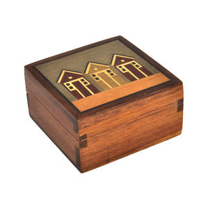Beach Huts Secret Marquetry Stash Box with Invisible Opening System 8 x 8 cm Thumbnail 2