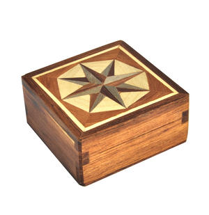 Compass Rose - Light Secret Marquetry Stash Box with Invisible Opening System 8 x 8 cm