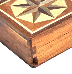 Compass Rose - Light Secret Marquetry Stash Box with Invisible Opening System 8 x 8 cm Thumbnail 2
