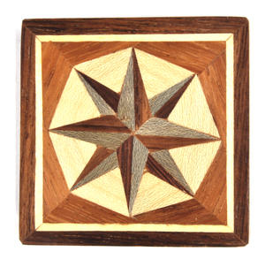 Compass Rose - Light Secret Marquetry Stash Box with Invisible Opening System 8 x 8 cm Thumbnail 4