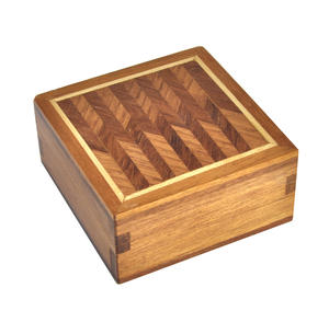 Geometric Secret Marquetry Stash Box with Invisible Opening System 8 x 8 cm Thumbnail 1