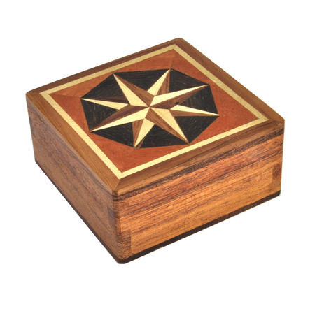 Compass Rose - Dark Secret Marquetry Stash Box with Invisible Opening System 8 x 8 cm