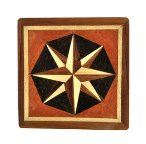 Compass Rose - Dark Secret Marquetry Stash Box with Invisible Opening System 8 x 8 cm Thumbnail 4