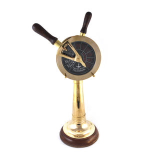 "Ship's Engine Order Telegraph - Working Reproduction Brass E.O.T. with Bell - 36cm / 14"" High Thumbnail 1"