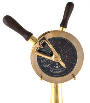 "Ship's Engine Order Telegraph - Working Reproduction Brass E.O.T. with Bell - 36cm / 14"" High Thumbnail 6"