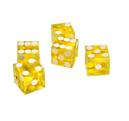 19mm Yellow Non-Precision Casino / Craps Dice - Set of 5 - Plastic Injection Moulded for Randomness