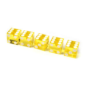 19mm Yellow Non-Precision Casino / Craps Dice - Set of 5 - Plastic Injection Moulded for Randomness Thumbnail 2