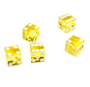 19mm Yellow Non-Precision Casino / Craps Dice - Set of 5 - Plastic Injection Moulded for Randomness Thumbnail 3
