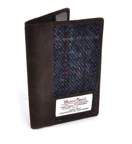 Blue Allasdale Harris Tweed Passport Wallet by The British Bag Company