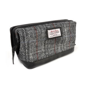 Berneray Grey Harris Tweed Traditional Metal Frame Zipper Washbag / Shaving Case