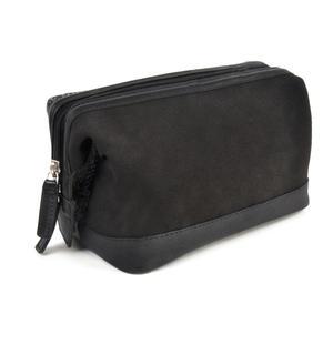 Berneray Grey Harris Tweed Traditional Metal Frame Zipper Washbag / Shaving Case Thumbnail 3