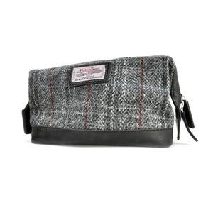 Berneray Grey Harris Tweed Traditional Metal Frame Zipper Washbag / Shaving Case Thumbnail 4