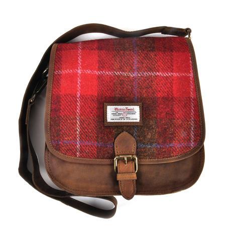 Red Harris Tweed Suede Cross Body Saddle Bag