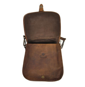 Red Harris Tweed Suede Cross Body Saddle Bag Thumbnail 2