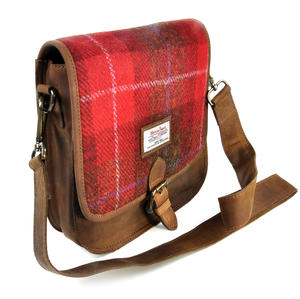 Red Harris Tweed Suede Cross Body Saddle Bag Thumbnail 4
