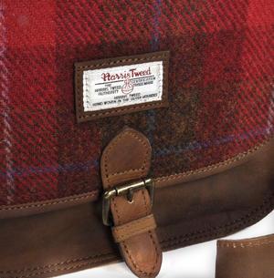 Red Harris Tweed Suede Cross Body Saddle Bag Thumbnail 5