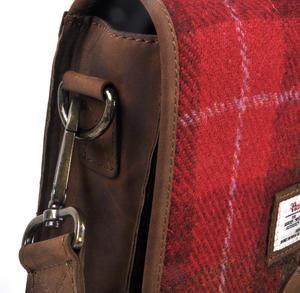 Red Harris Tweed Suede Cross Body Saddle Bag Thumbnail 6