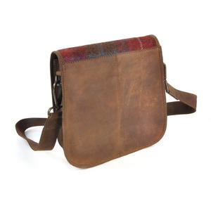 Red Harris Tweed Suede Cross Body Saddle Bag Thumbnail 7