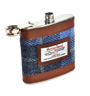 Blue Castle Bay Harris Tweed Hip Flask