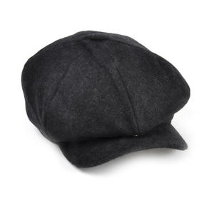 Grey 6 Panel News Boy / Baker Boy Wool Cap - Large Peaky Blinders