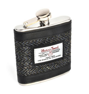 Grey Harris Tweed Herringbone Hip Flask Thumbnail 1