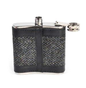 Grey Harris Tweed Herringbone Hip Flask Thumbnail 3