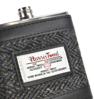 Grey Harris Tweed Herringbone Hip Flask Thumbnail 4