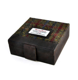 Green Breanais Harris Tweed Cufflink Box