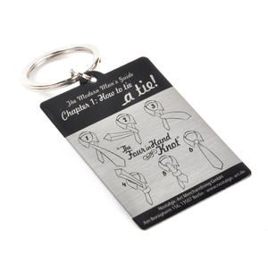 "Hot To Tie A Tie! ""The Four in Hand Knot"" Diagram - VIP Key Ring Thumbnail 1"