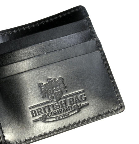 Full Grain Black Leather Bi-Fold Wallet