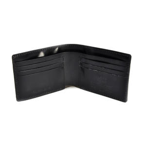 Full Grain Black Leather Bi-Fold Wallet Thumbnail 3