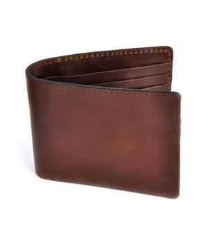 Full Grain Brown Leather Bi-Fold Wallet