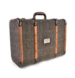 Harris Tweed Covered Suitcase by The British Bag Company - Brown Trim Thumbnail 1
